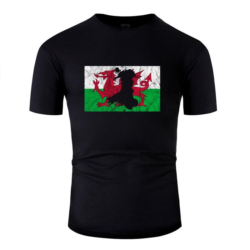 Galles map silhouette Welsh Flag Drago Uk Cymru Pazzo maglietta per i Mens Lettera Famosa Comics T-shirt Uomo Tee Top