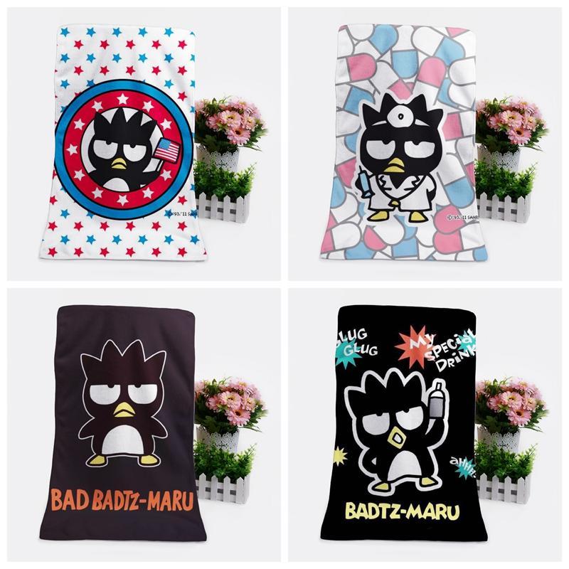 1PCS nero del pinguino di moda su misura Anime asciugamani da bagno fazzoletto morbido del tovagliolo di fronte del fumetto washcloth Unisex NUOVO