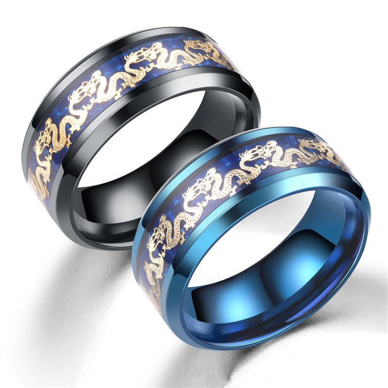 Titane Steel Dragon Anneaux chaîne Bague en noir et Cadeaux Blue Man Wedding Band Bijoux Taille 6-13