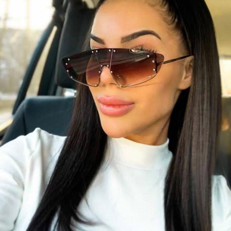 Мода Rimless Крупногабаритные Солнцезащитные очки Женщины Мужчины Металл солнцезащитные очки Дизайн Vintage очки UV400 Оттенки