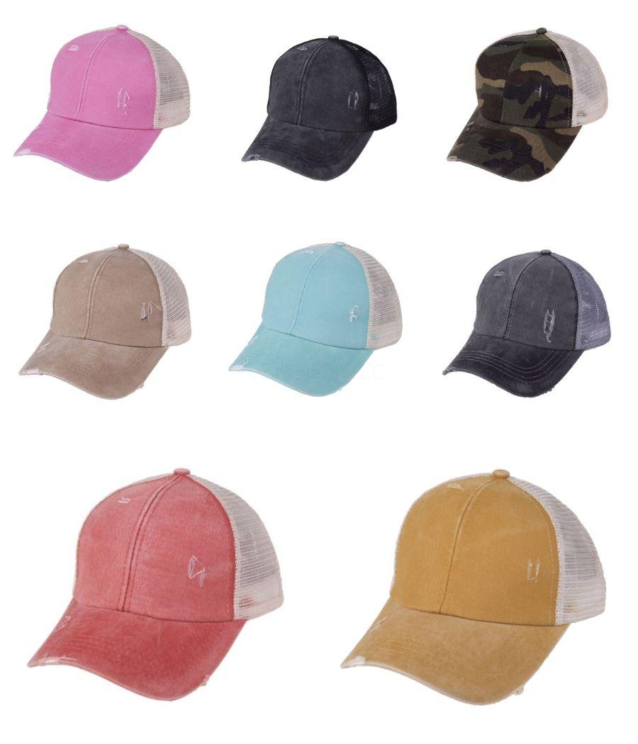 Mujer Cola de caballo gorra de béisbol de moda Lady algodón lavado Snapback capsula Casual Deportivo verano visera del sombrero sombrero al aire libre TTA933 # 209