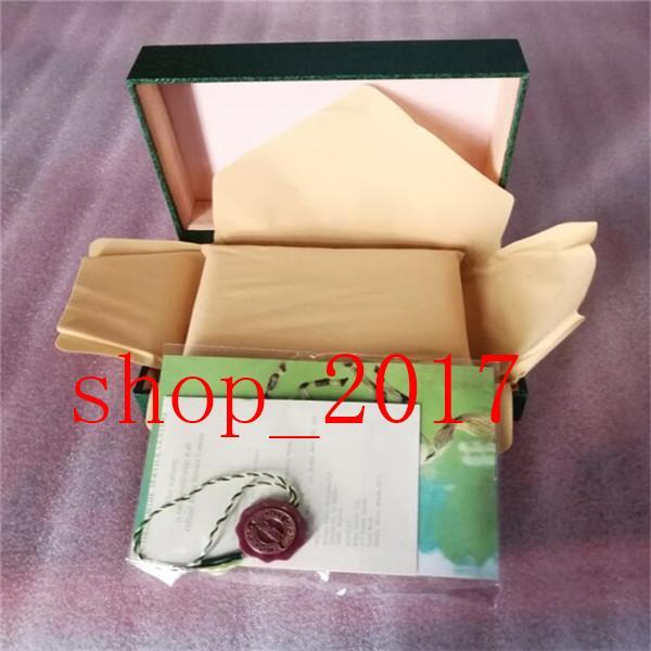 XXFree expédition montre de luxe mens Rolex Ecrin d'origine intérieure externes Montres Womans Boîtes hommes Wristwatch carte livret boîte verte 520