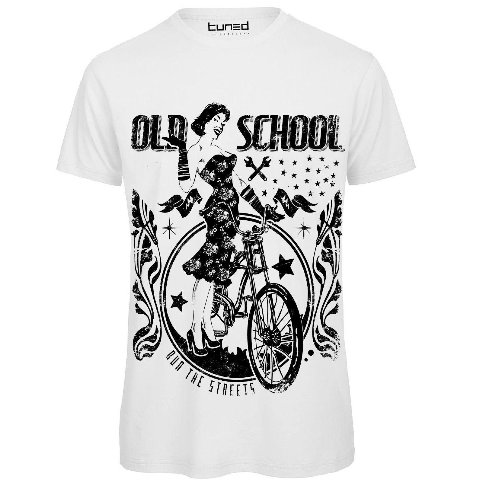 Camiseta Divertente Uomo de Maglietta Con Stampa personalizada Old School Bicicletta Tuned algodón camiseta de los hombres arriba de regalo Tee