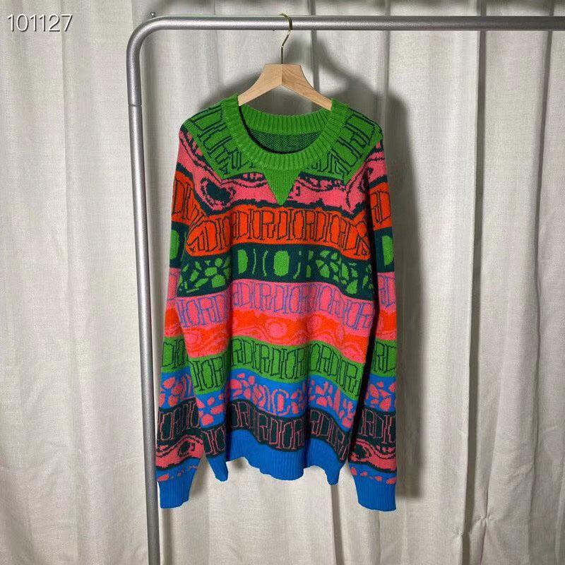 Suéter de 20ss carta bordado multicolor masculina ocasional de la manera simple jersey cómodo suéter de los hombres del O-cuello de los hombres suéter de los hombres jersey
