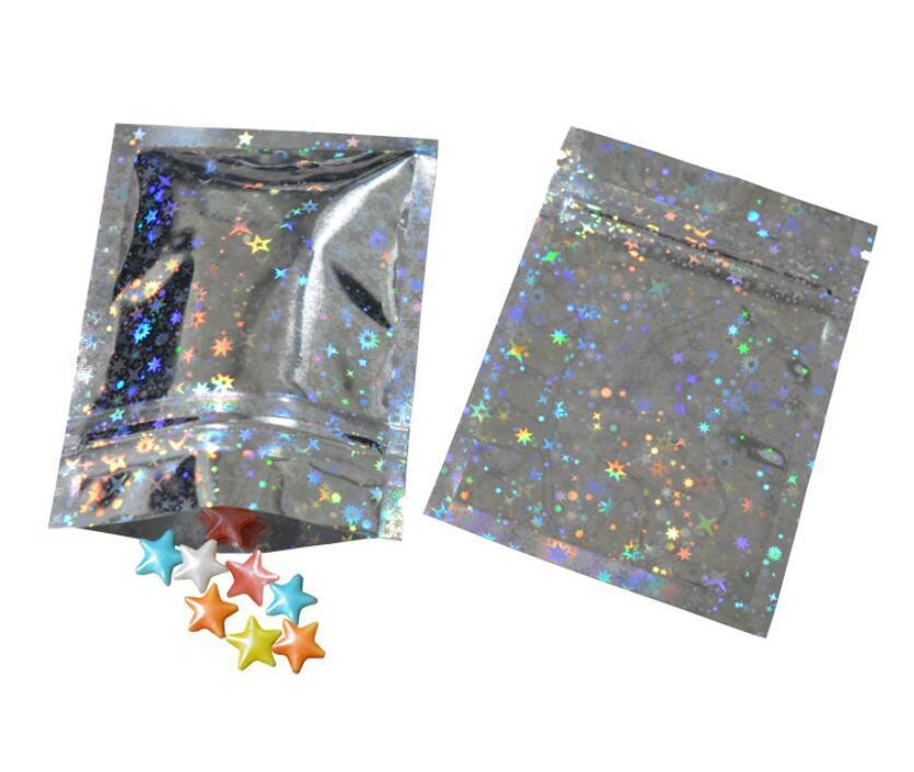 Folha de alumínio glittery zipper reutilizável alimentos zipp er armazenamento embalagem sacola folha mylar auto selfle alimento pacote bolsas 3 tamanhos atacado