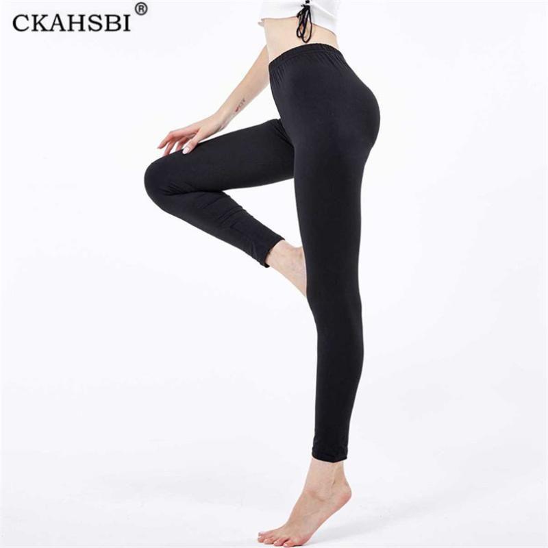 CKAHSBI Schwarz Fitness Legging Frauen Workout Femmle Gamaschen feste Hosen mit hoher Taille Push Up Leggins Sport Jogging Yoga Pants