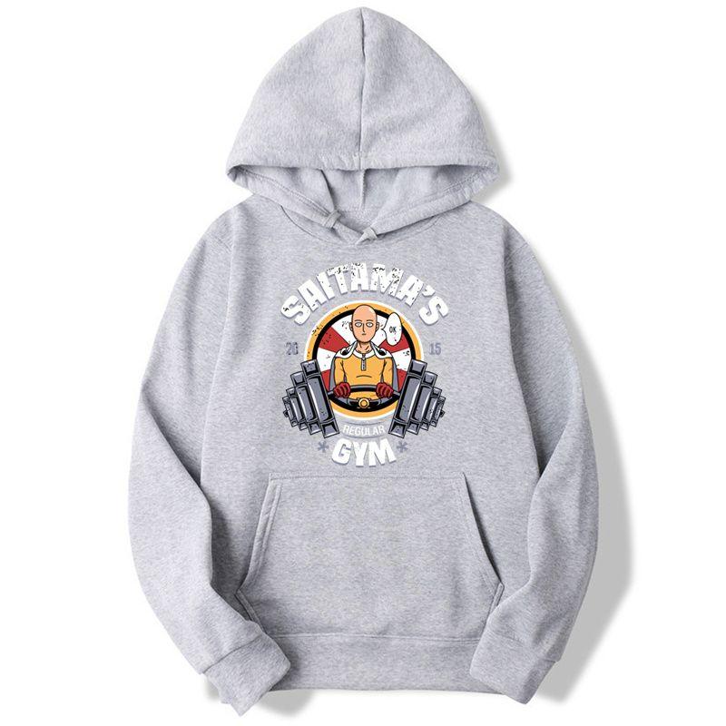 Сайтама в G Y M One Панч Толстовка Мужчины Толстовки Мода Solid Hoodie Mens Пуловер Мужские костюмы Moleton Мужчина для,