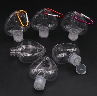 50ml Heart Shape Hook Bottle PETG Barb Bottle Hand Sanitizer Clear Transparent Gel Bottles Alcohol Gel Bottle Carabiner Bottles EEA1883