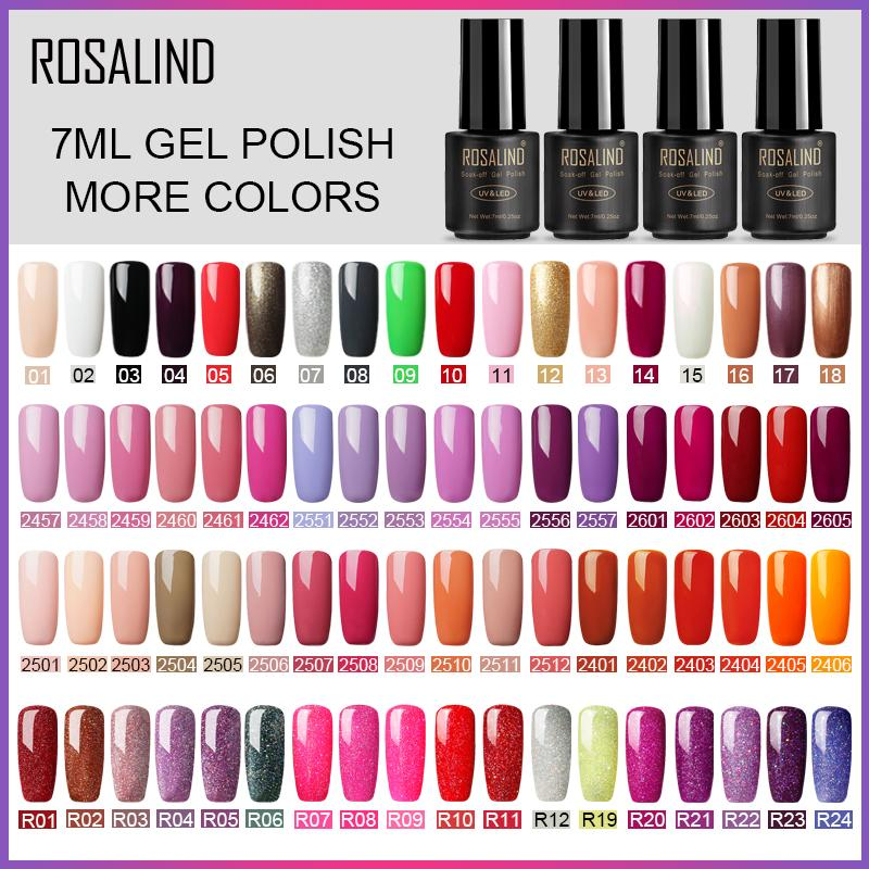 ROSALIND 7ml Gel Polish Nail Art Gel Nail Polish Set For Manicure Soak Primer Semi Permanent UV Hybrid Lacquer