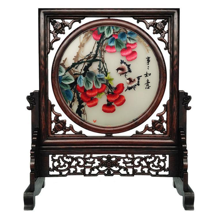 Modelo chino decoración del hogar manualidades adornos de doble lado Suzhou bordado de seda hueco del marco Wenge tallado cuadrado de la tabla de la pantalla regalo