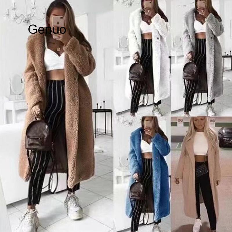 Autumn Winter Faux Fur Teddy Coat Women 2020 Casual Plus Size Long Jacket Female Thick Warm Black Outwear Manteau Fourrure Femme