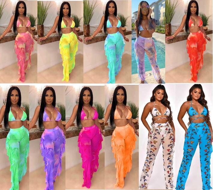 2020 مصمم ملابس السباحة المرأة التعادل صبغ اثنان من قطعة وتتسابق PINK غالاكسي طباعة شبكة بيكيني ملابس السباحة على الرغم من الرسن البرازيلي الأعلى الكشكشة الربط سروال