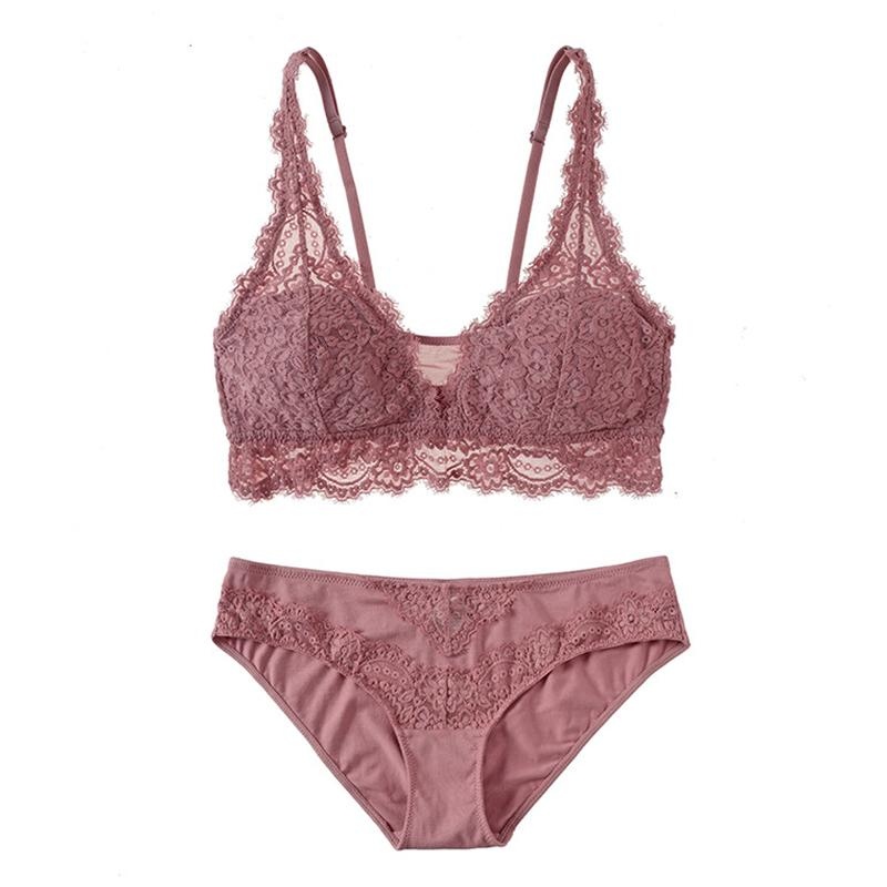 Sexy Mesh Embroidery Bra Set Eyelash Lace Underwear without Stones Vintage Set Lingerie Thin Cup Wireless Bra For Women Y200710