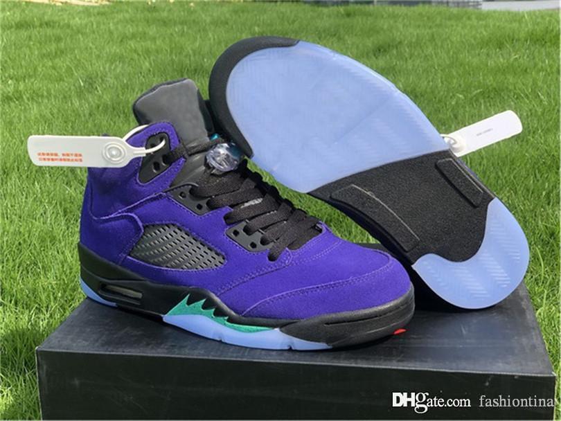 2020 Выпущенных Аутентичный воздух Аутентичные 5 Альтернативного Grape Ice Black Men Basketball Shoes Clear New Emerald замша Спортивная обувь кроссовки 7-13