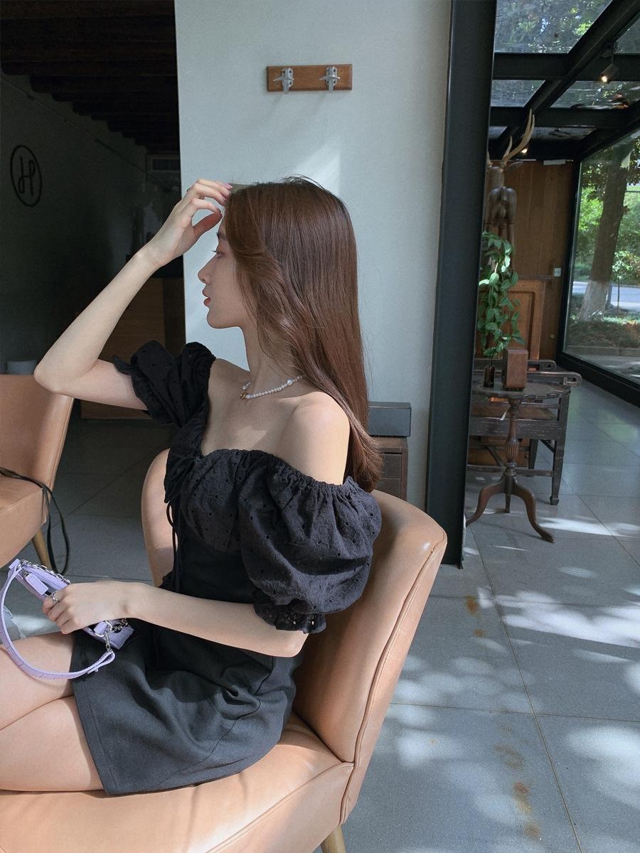 fDlxB 2020 Sommer Sommer Temperament Overallrock 2020 Kleid A- Kleid ji Quadrat Xin Kragen A- Linie neue Göttin Fan V-Ausschnitt Spitzen-up Abnehmen