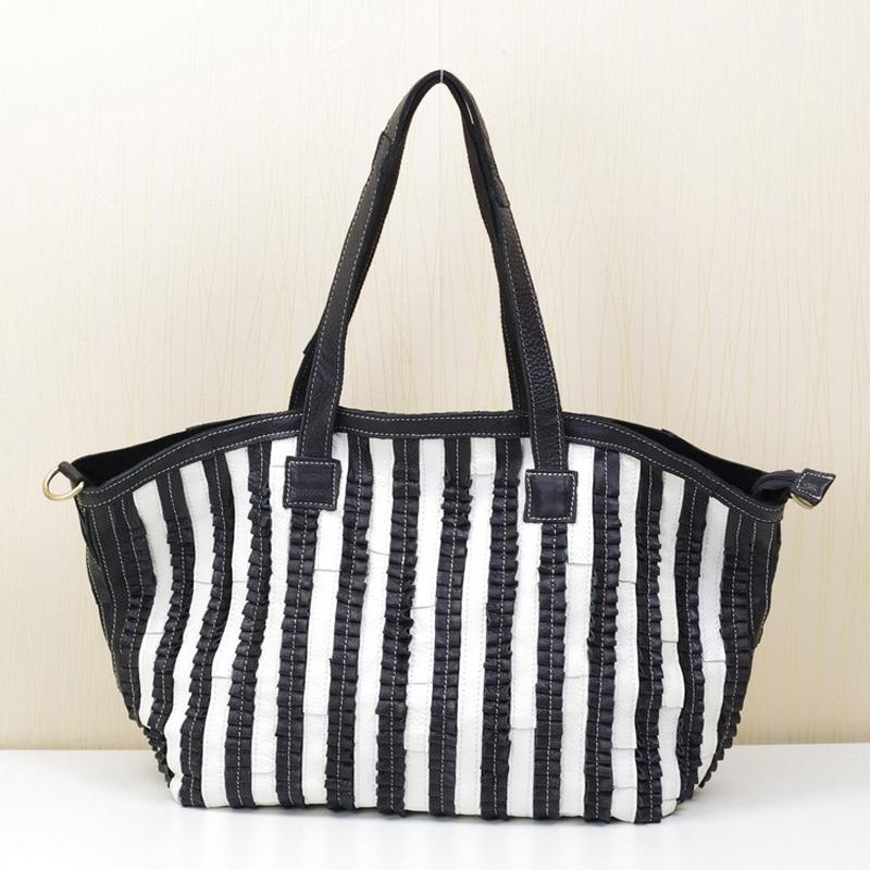 Large Capacity Tote Hand Bags for Women Genuine Leather Handbags and Purses High Quality Black Striped Shoulder Bag Handbag Luxury Designers