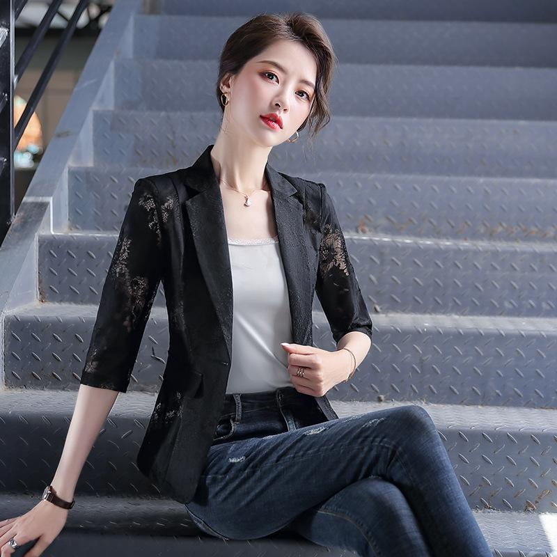 QB74s 화이트 쉬폰 레이스 작은 정장 여성의 봄과 여름을 인쇄 짧은 얇은 한국어 코트 실크 스크린 레이스 실크 스크린 캐주얼 내가 모든-일치