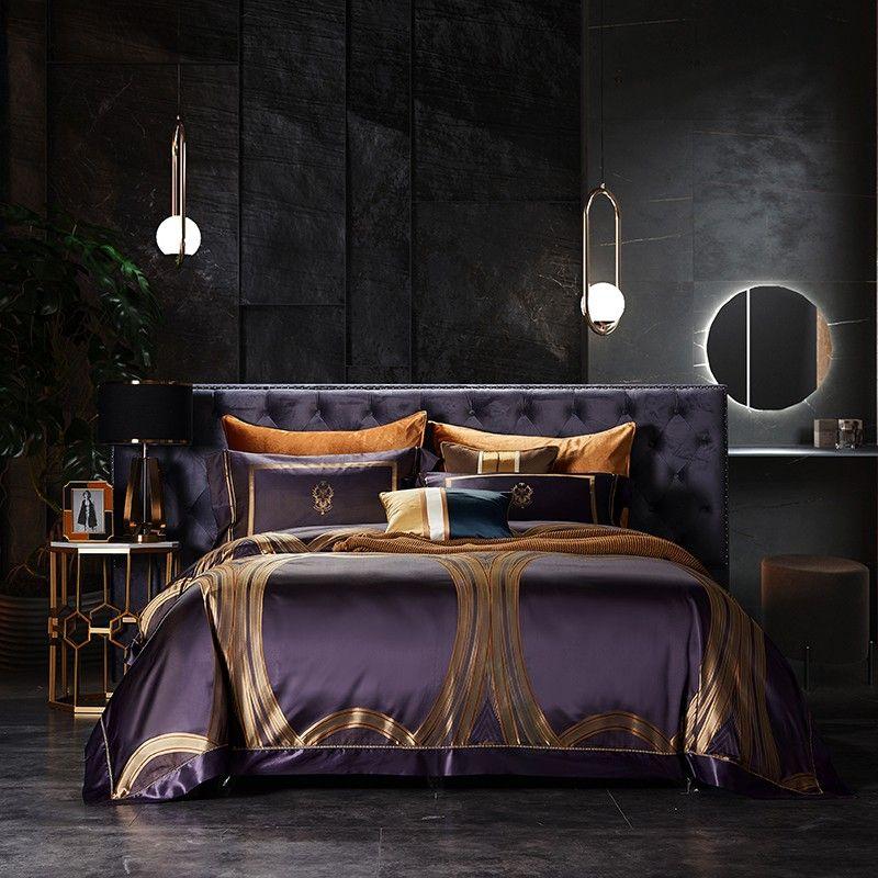 Real de lujo 100% seda de mora de cama determinada púrpura 100% de seda incluyen hoja de cama 1Pc funda nórdica 1Pc plana 2 piezas de la funda de almohada