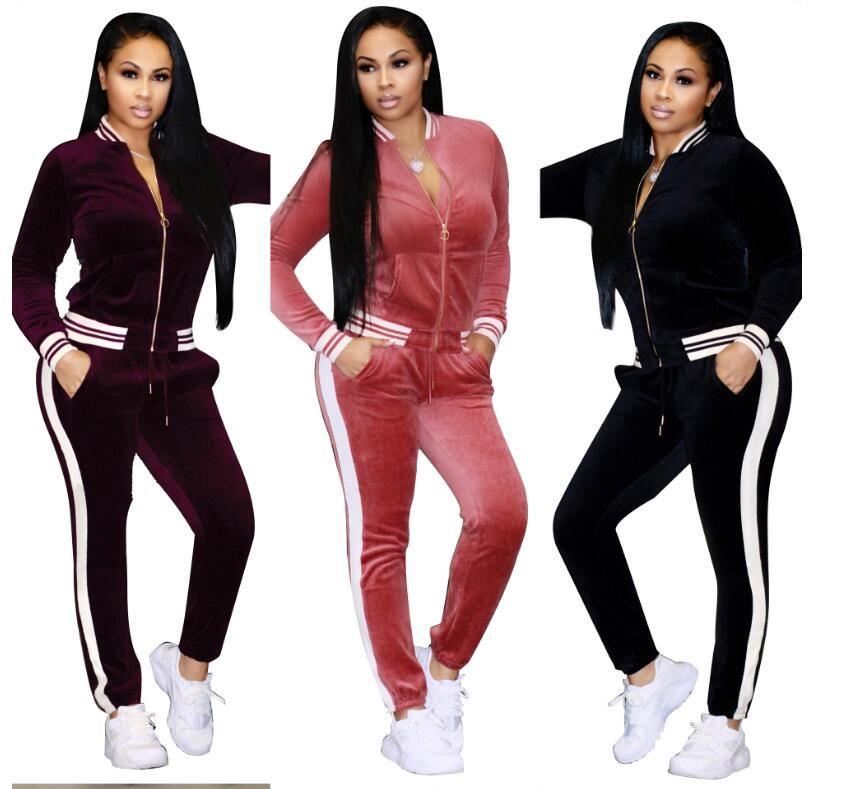 Femmes de grande taille Vêtements de sport pied de col Survêtements Femmes Sexy Costume Casual Zipper Pull Avec Pantalon de jogging 2pc absolvez shpping