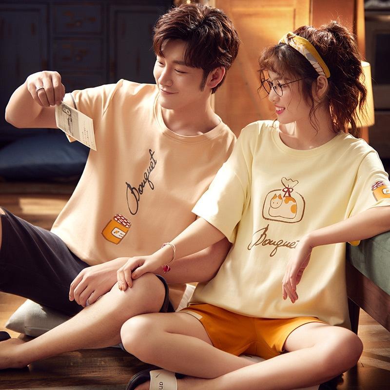 Новый хлопок пару пижам женских с короткими рукавами мужские случайные корейский 100cotton дома шорты и шорты пижамы shortssuit