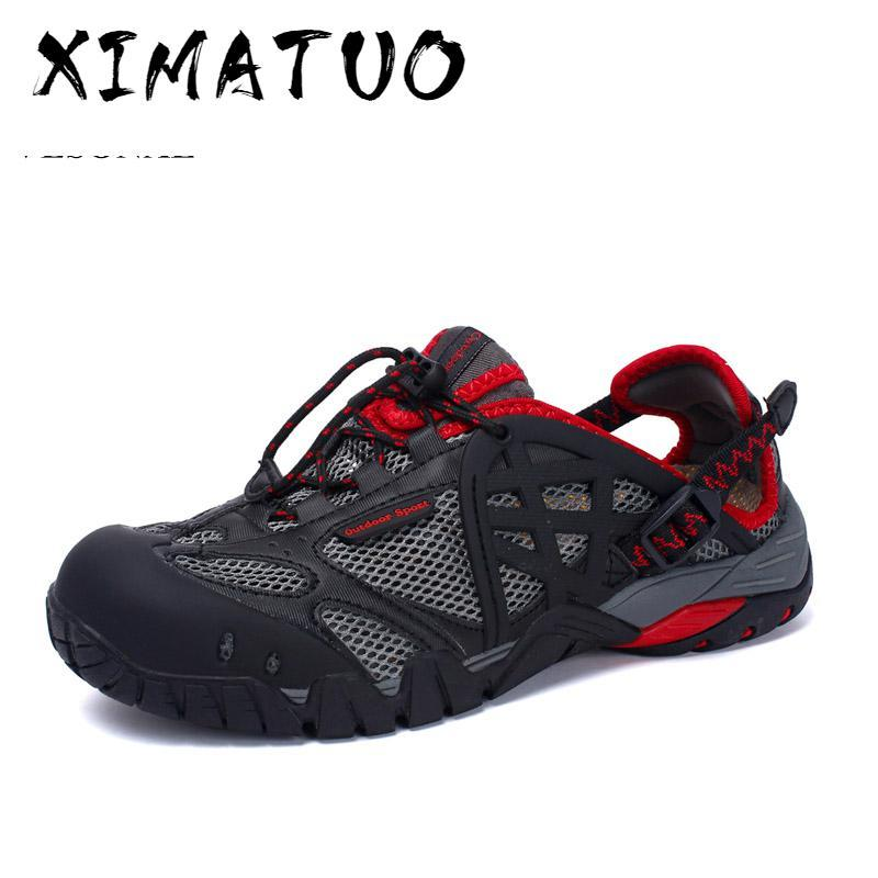 Brand Summer Style Male Mesh Sandals Shoes Men Couples Casual Beach Breathable Light Lace-Up Quality Comfortable Sandal
