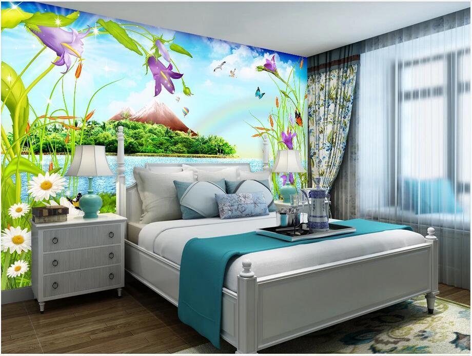 Custom photo wallpaper mural 3d wall paper Lake cartoon landscape painting children's room 3D mural background wall furniture sticker