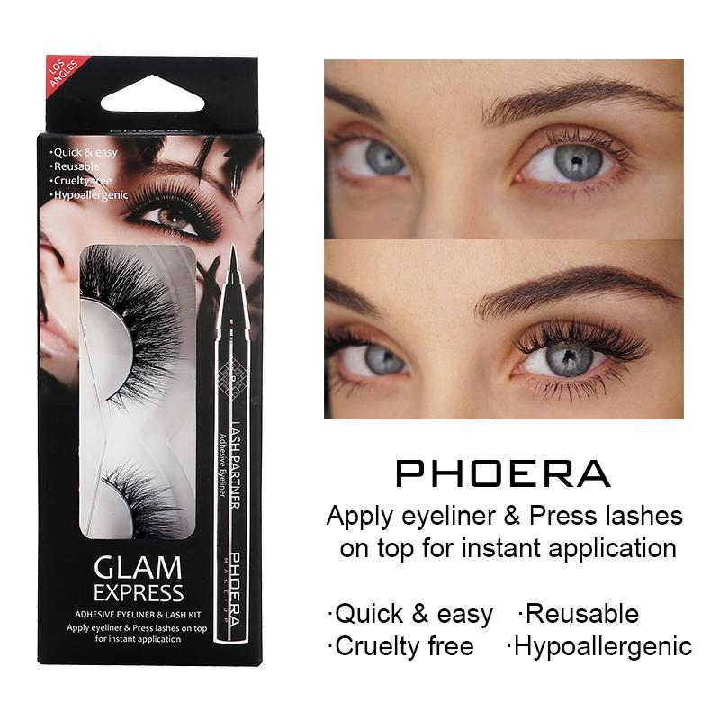 Cils artificiel Naturel épais et long Cils petit paquet de maquillage d'extension auto-adhésif + Noir Eyeliner