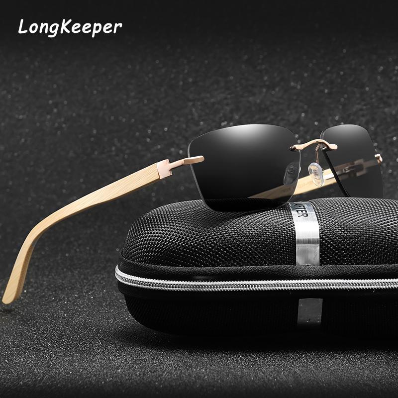 New Bamboo Glasses Square Sunglasses Women Rimless Sun Glasses For Men Clear Glasses Wooden legs Driving Goggles UV400 uv400