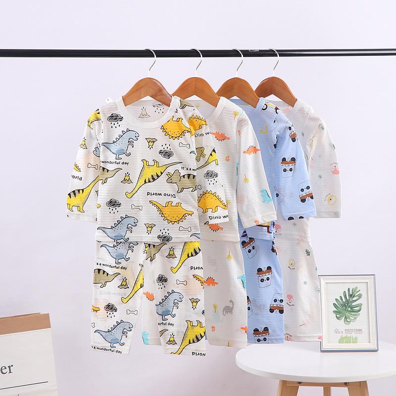 dei bambini svegli Autunno pigiama che coprono le ragazze dei ragazzi Cartoon Sleepwear vestiti dei capretti maniche lunghe top + pants del bambino a casa abiti