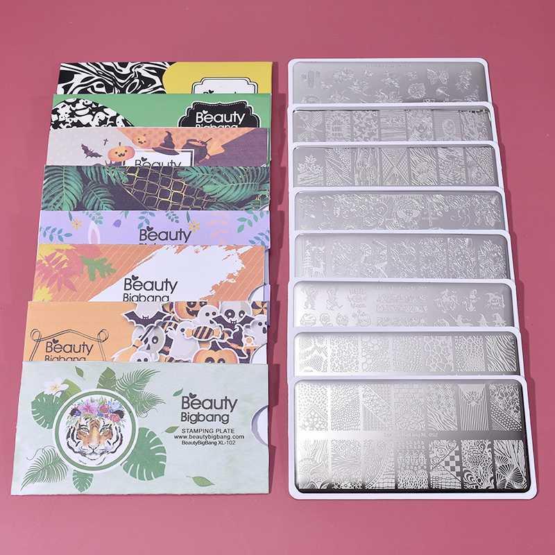 Beautybigbang 8PCS Nail Stamping Plates Set heiße Verkaufs-Tier-Blumen-Art Bild 6 * 12cm Nail Art Schablone Stempelplatte