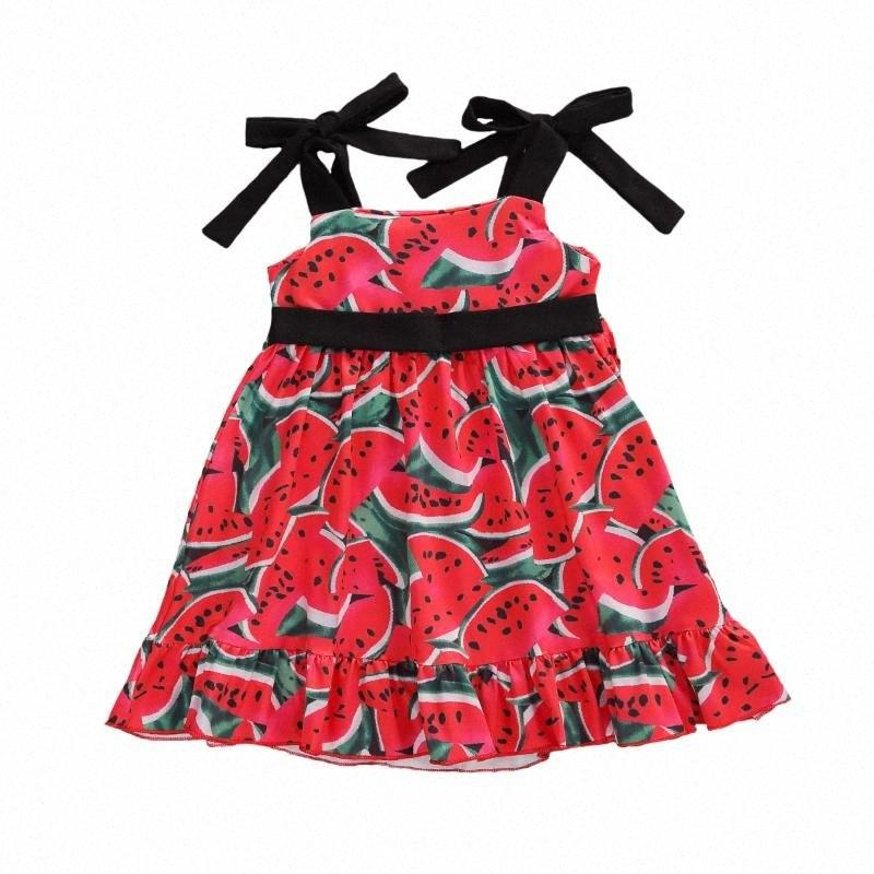 2020 2020 Yaz Çocuk Kız Giydirme Karpuz Baskı Kolsuz Cothes Ruffles A Hattı Mini Elbise Çocuk Prenses Sundress ic2j #