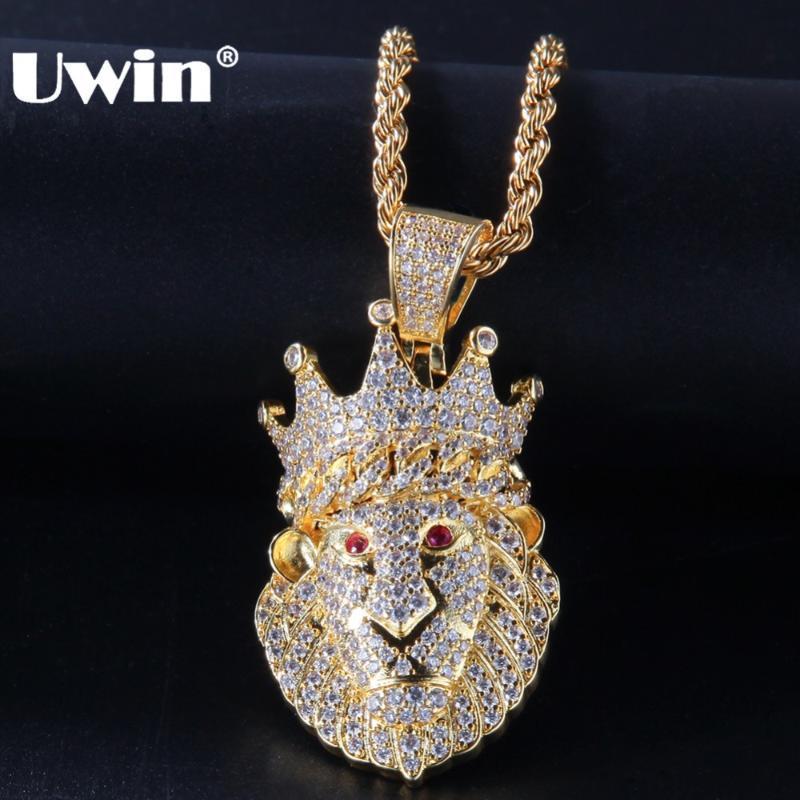 UWin цвета золота кубинский Корона Лев Подвеска 3мм теннис цепи с Red Eye Полный Iced Out ювелирные изделия кубического циркония Hiphop ожерелье