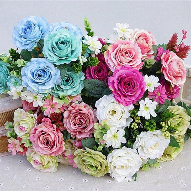 11Heads Artificial Flocked hair pine rose flowers bouquet silk fleurs artificielles fake flores for home wedding decoration xR5H#