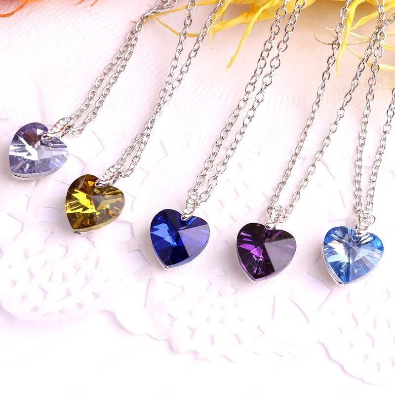Free Shipping Luxury Design Handmade Colorful Heart Crystal Necklace Women's Best Gift Silver Chain Necklace Jewelry