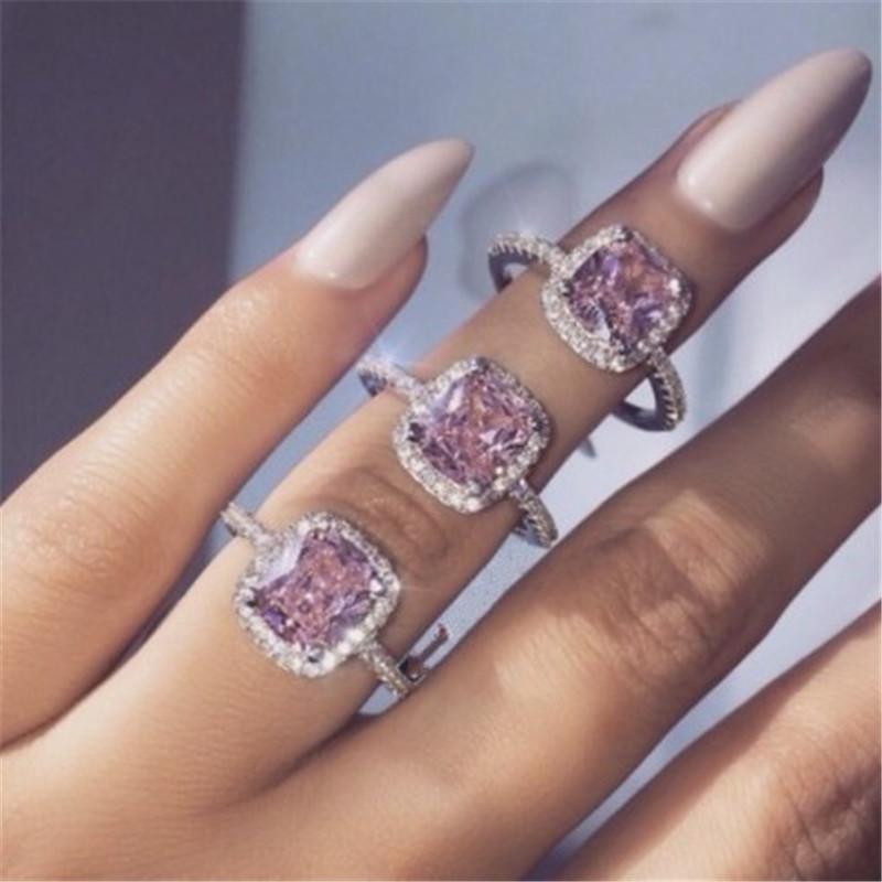 أزياء اليدوية خاتم فضة 925 الاسترليني 5A الوردي تشيكوسلوفاكيا حجر الاشتباك خواتم خاتم الزواج للنساء رجال حزب مجوهرات هدية