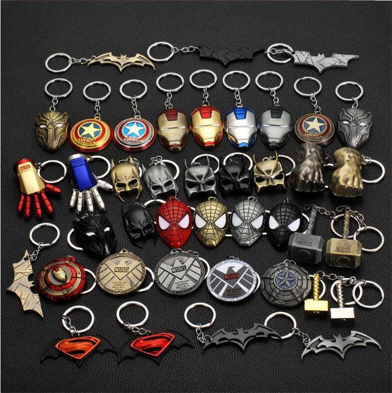 Iron man homem de metal Marvel Avengers Captain America Protetor Keychain Aranha Máscara Keychain Brinquedos Hulk Batman Keyring presente Brinquedos