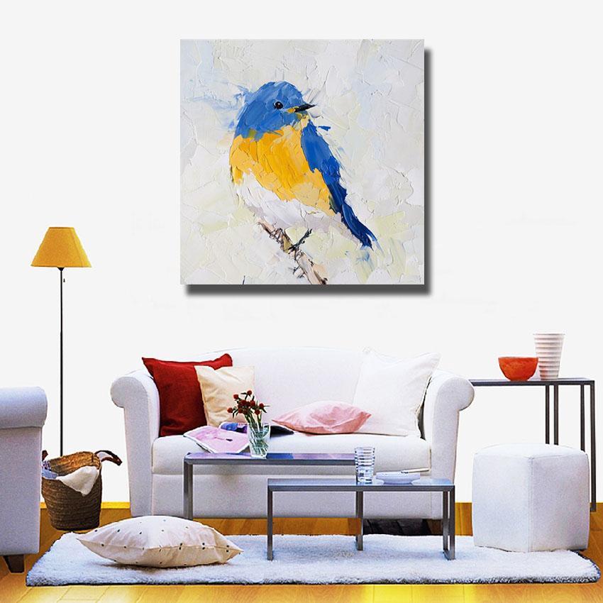 Морденом Аннотация Handpainted картина маслом животных высокого качества Синяя птица Wall Art Картина на холсте для гостиной Home Decor