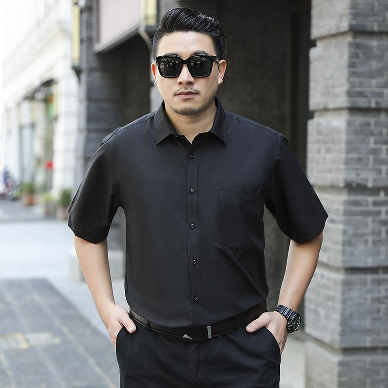 Fashion high-end casual men's short-sleeved shirt large size new material dinner size XS-8XL business casual men's shirt