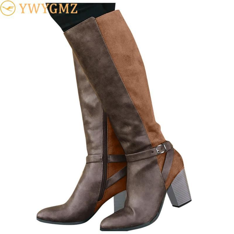 NAUSK الحارة الكعوب الفراء أحذية النسائية أحذية عالية السوستة الجانبية أنثى أحذية امرأة سوداء أحذية إسفين Shose لنساء