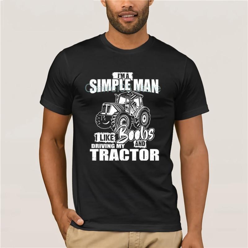 casuale manica corta girocollo Printed T-shirt Mi piace Boobs E Trattore Farmer Vita casuale o maglietta allentata estate del collo per gli uomini