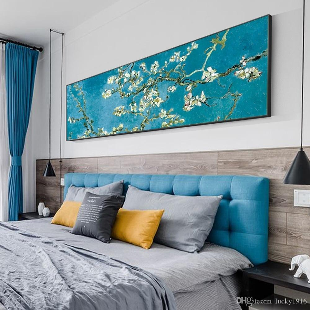 Salon Cuadros Decoracion için Empresyonist Çiçek Poster Baskılar İskandinav Duvar Resimleri Boyama Klasik Badem Çiçeği Kanvas
