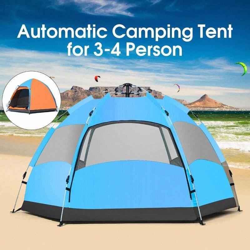 3-4 Personen im Freien Automatische Camping-Zelt Wasserdichtes Double Layer UV Strand Schirmdach NqMg #