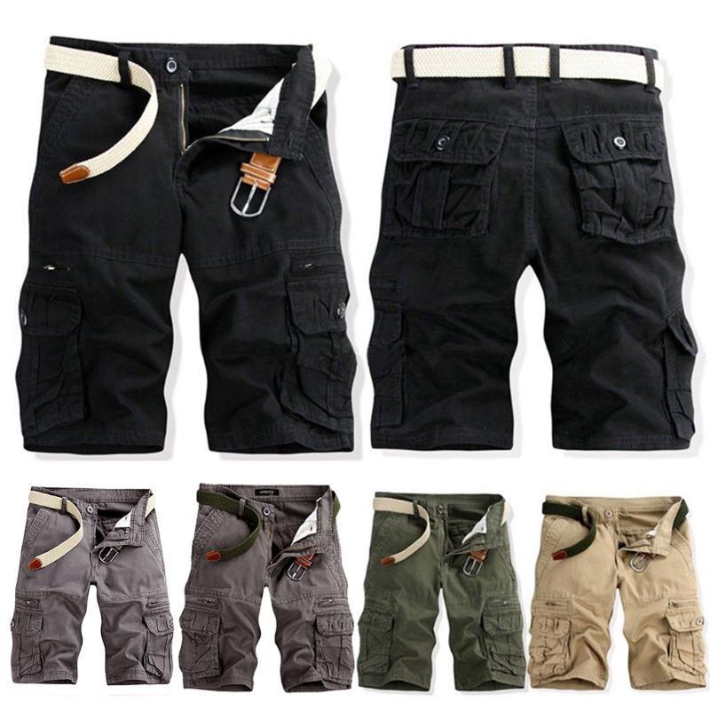 Pantalones cortos para hombres hombres ocio color puro verano al aire libre bolsillo playa trabajo casual