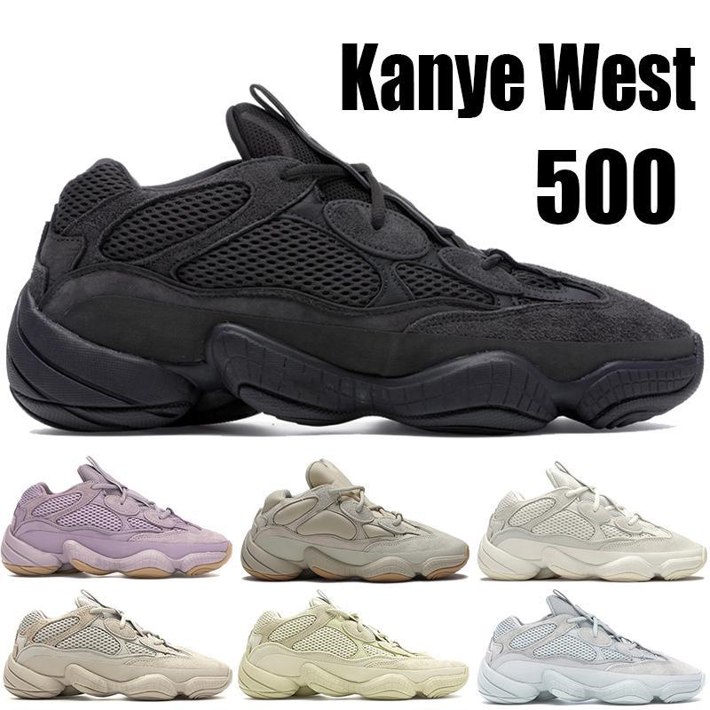 Rat du désert Top 500 chaussures de course kanye west blanc réfléchissant os noir souple Vision Utility hommes chaussures de sport en pierre blush Formateurs sel