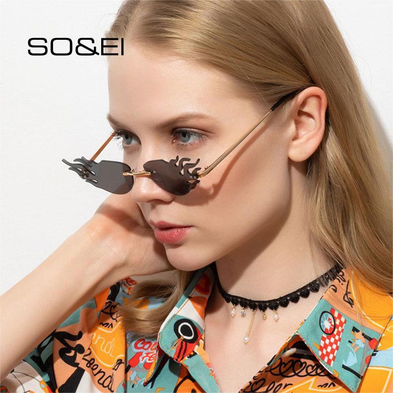 Forma Soei Moda sin rebordes único fuego flamea las gafas de la marca del diseñador de la vendimia Gafas de sol hombre Sombras UV400