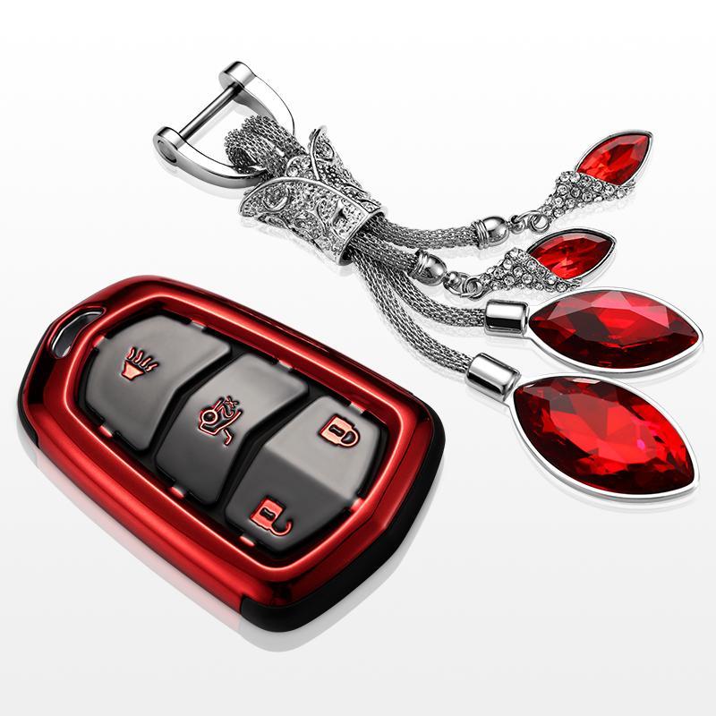 cobertura das teclas para cadillac 2018 4 ats botão CT6 XTS XT4 2017 Chave do carro saco / caso chave titular carteira