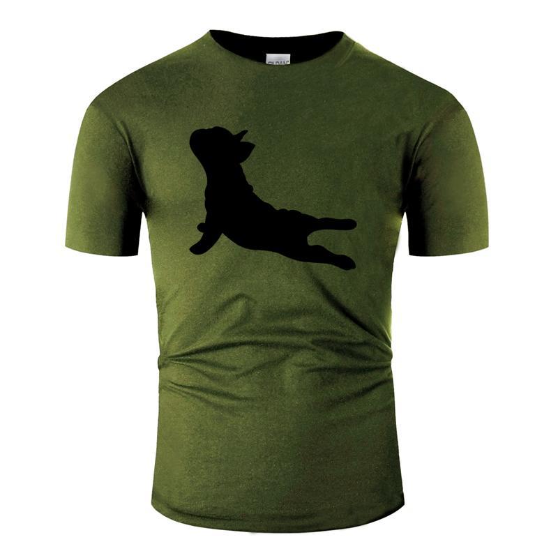 silueta transpirable divertida ocasional de una frenchie francés bulldog hacer yoga camiseta 2019 Ocio luz del sol camiseta masculina tee superior