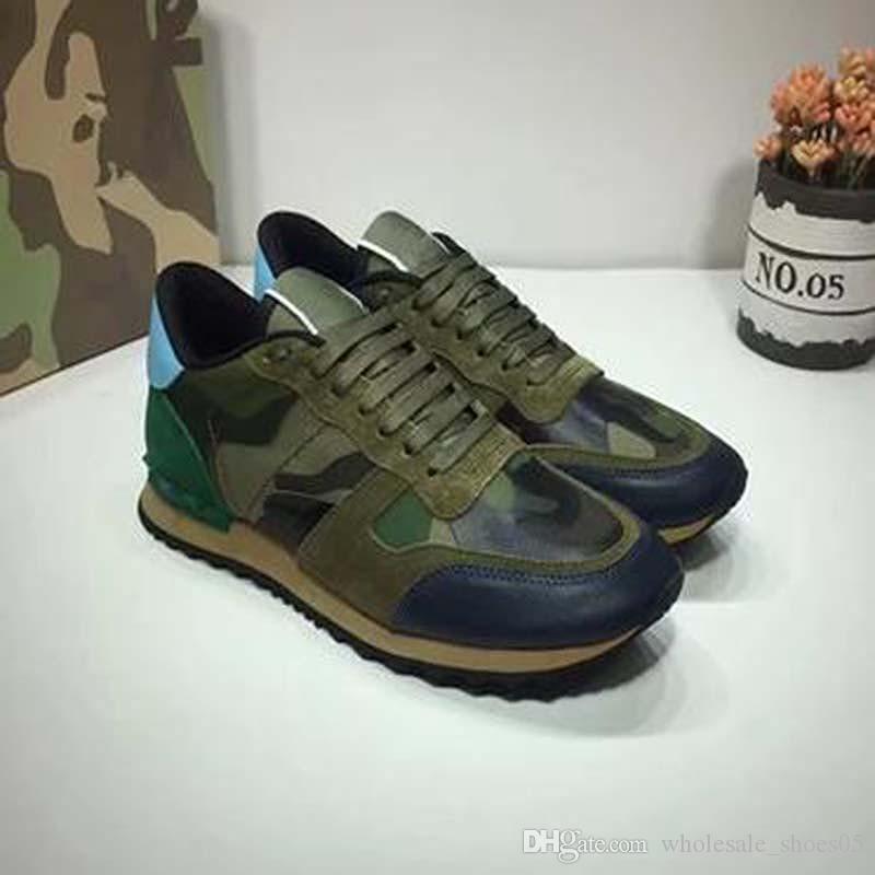 Женщины / Мужчины повседневная обувь камуфляж натуральная кожа кружево вверх пару обуви унисекс Заклепки плоские туфли 35-45 yy2
