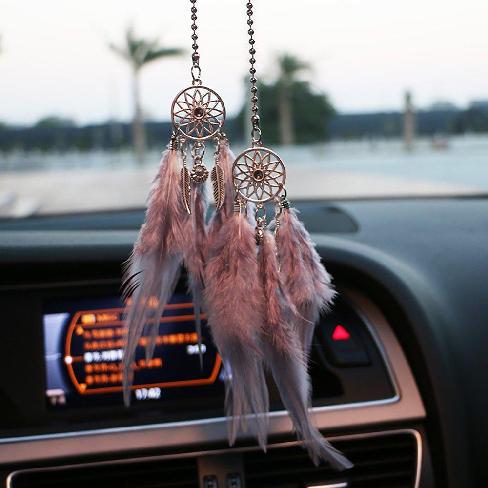 Black YGMONER Mini Dream Catcher Car Interior Rearview Mirror Hanging Decor Nature Feather Small Boho Car Charms Pendant Accessories