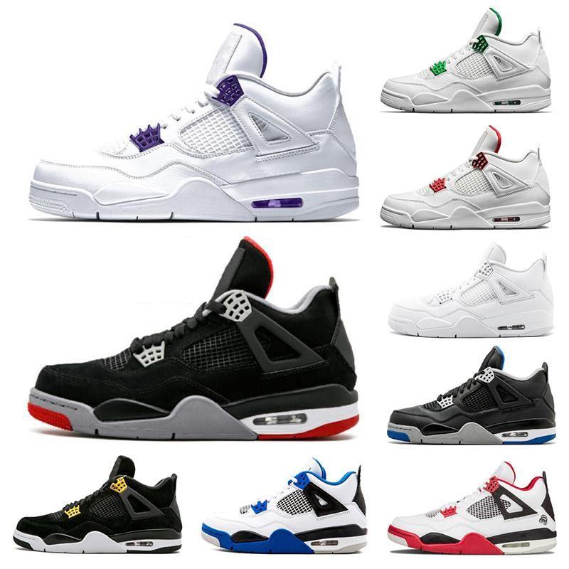 2020 4 4S الرجال أحذية كرة السلة المحكمة الأرجواني ما ولدت المال النقي الأحمر المعدني أحذية رياضية حجم 7-13